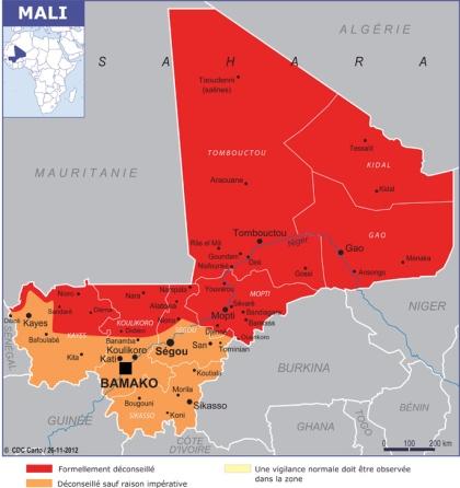 Conseils aux voyageurs Mali janvier 2013